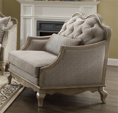 Chelmsford Chair in Beige Fabric & Antique Taupe Finish by Acme - 56052