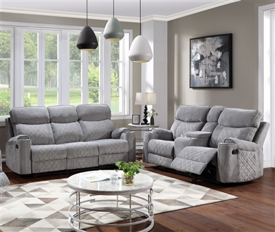 Aulada 2 Piece Motion Sofa Set in Gray Fabric Finish by Acme - 56900-S
