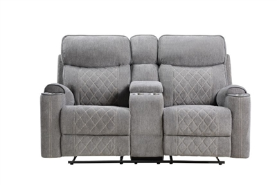 Aulada Motion Loveseat w/Console and USB Port in Gray Fabric Finish by Acme - 56901