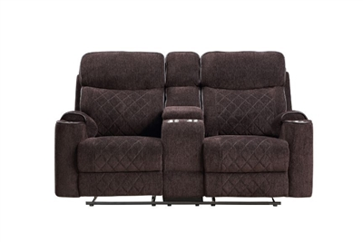 Aulada Motion Loveseat w/Console and USB Port in Chocolate Fabric Finish by Acme - 56906