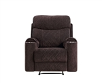 Aulada Glider Recliner in Chocolate Fabric Finish by Acme - 56907