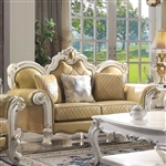 Picardy Loveseat in Butterscotch PU & Antique Pearl Finish by Acme - 58211
