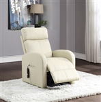 Ricardo Recliner w/Power Lift in Beige PU Finish by Acme - 59499