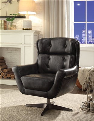 Asotin Accent Chair in Vintage Black Top Grain Leather Finish by Acme - 59532