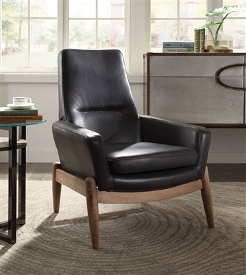 Dolphin Accent Chair in Black Top Grain Leather Finish by Acme - 59533