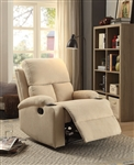 Rosia Recliner in Beige Velvet Finish by Acme - 59551