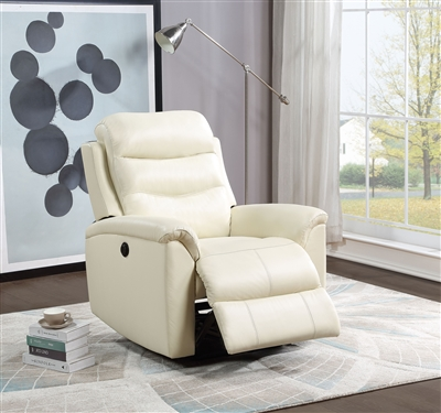 Ava Power Motion Recliner in Beige Top Grain Leather Match Finish by Acme - 59692