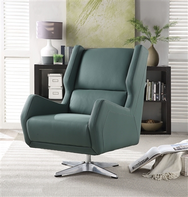 Eudora II Accent Chair in Green Leather-Gel Finish by Acme - 59737
