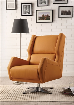 Eudora II Accent Chair in Orange Leather-Gel Finish by Acme - 59738