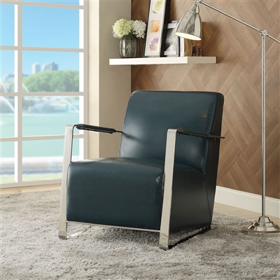 Rafael Accent Chair in Teal PU & Stainless Steel Finish by Acme - 59780