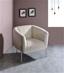 Carlson Accent Chair in Beige Velvet & Chrome Finish by Acme - 59792