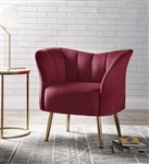 Reese Accent Chair in Burgundy Velvet & Gold Finish by Acme - 59795