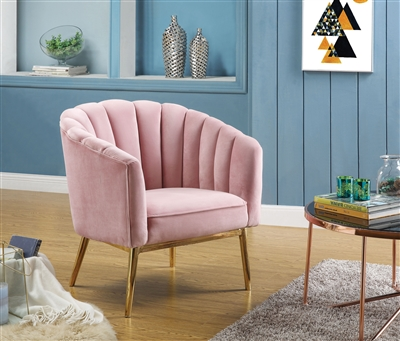 Colla Accent Chair in Pink Velvet & Gold Finish by Acme - 59814