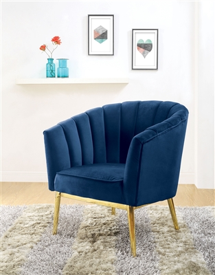 Colla Accent Chair in Blue Velvet & Gold Finish by Acme - 59815
