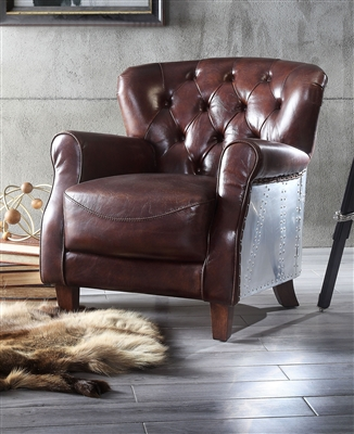 Brancaster Accent Chair in Vintage Brown & Aluminum Finish by Acme - 59830