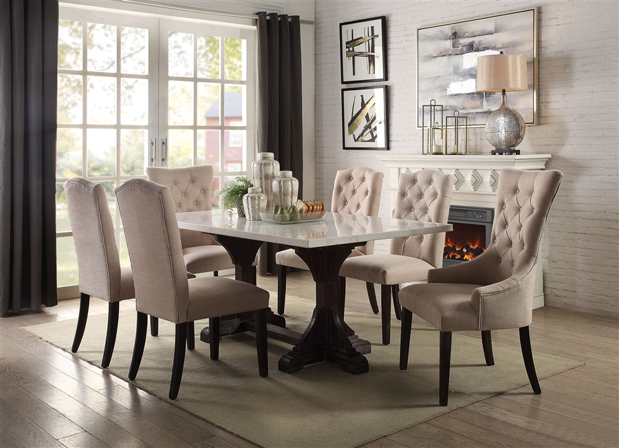 Gerardo 7 Piece Dining Room Set In, White Marble Top Dining Room Table