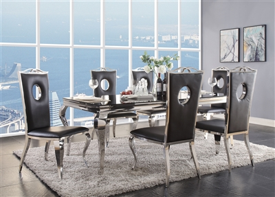 Fabiola 7 Piece Dining Room Set in Stainless Steel & Black Glass Finish by Acme - 62070-62078