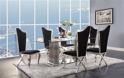 Cyrene 7 Piece Dining Room Set in Stainless Steel & Clear Glass Finish by Acme - 62075-62079