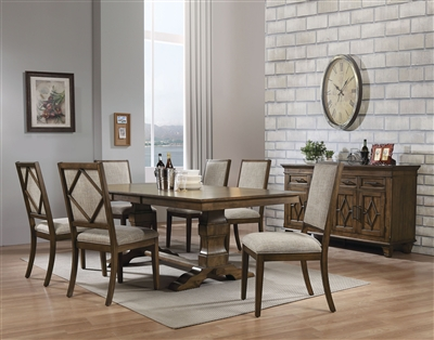 Aurodoti 7 Piece Dining Room Set in Oak Finish by Acme - 66100