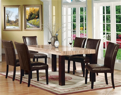 Fraser 7 Piece Dining Room Set in Faux Marble & Espresso Finish by Acme - 70130