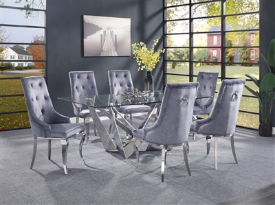 Dekel 7 Piece Dining Room Set with Gray Fabric Chairs by Acme - 70140-70143