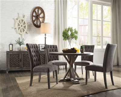 Carmelina 5 Piece Round Table Dining Room Set in Weathered Gray Oak Finish by Acme - 70245