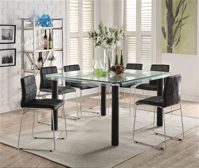 Gordie 7 Piece Counter Height Dining Set in Black Finish by Acme - 70255-70259