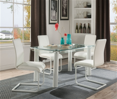 Gordie 5 Piece Dining Room Set in White Finish by Acme - 70260-70262