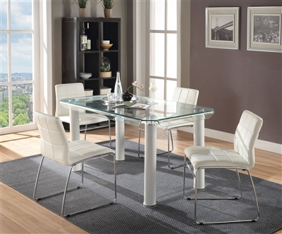 Gordie 5 Piece Dining Room Set in White Finish by Acme - 70260-70263