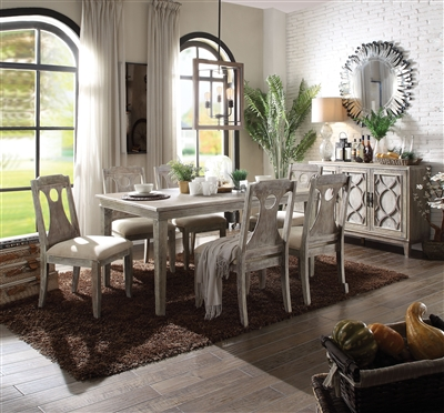 Colette 7 Piece Dining Room Set in Reclaimed Gray Oak Finish by Acme - 70310