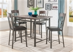 Lynlee 5 Piece Counter Height Dining Set in Weathered Dark Oak & Dark Bronze Finish by Acme - 70335