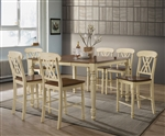 Dylan 7 Piece Counter Height Dining Set in Buttermilk & Oak Finish by Acme - 70430