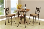 Kleef 3 Piece Round Table Counter Height Dining Set in Dark Bronze Finish by Acme - 70560