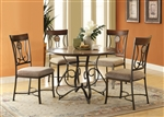 Barrie 5 Piece Round Table Dining Room Set in Cherry Oak & Dark Bronze Finish by Acme - 70640
