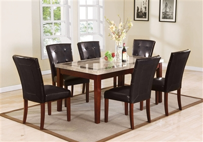 Earline 7 Piece Dining Room Set in White Marble w/Brown Insert & Walnut Finish by Acme - 70772