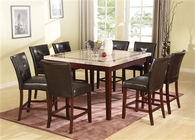 Earline 7 Piece Counter Height Dining Set in White Marble w/Brown Insert & Walnut Finish by Acme - 70774
