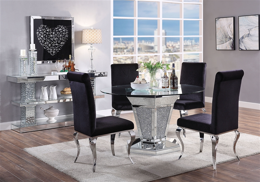 Nie 5 Piece Round Table Dining Room, Glass Table Sets For Living Room