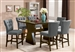 Effie 7 Piece Counter Height Dining Set with Gray Chairs in Walnut Finish by Acme - 71520-71528