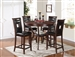 Oswell 5 Piece Round Table Counter Height Dining Set in Cherry Finish by Acme - 71599