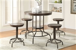 Burney 5 Piece Round Table Counter Height Dining Set in Cherry Oak & Bronze Finish by Acme - 71640
