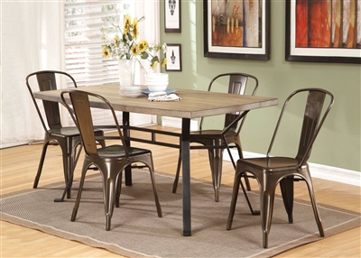 Dervon 5 Piece Dining Room Set in Light Oak & Gray Finish by Acme - 71650-96255