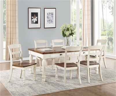 Britta 7 Piece Dining Room Set in Walnut & White Washed Finish by Acme - 71770
