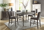 Godeleine 5 Piece Counter Height Dining Set in Weathered Gray Oak Finish by Acme - 71860