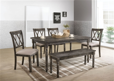 Claudia II 7 Piece Dining Room Set in Weathered Gray Finish by Acme - 71880