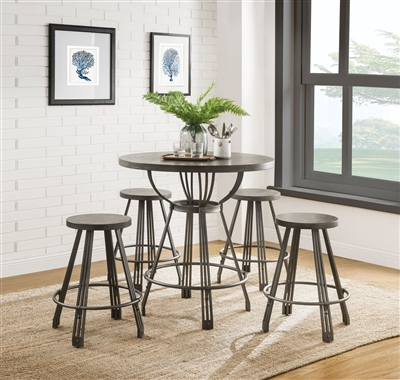 Davin 5 Piece Round Table Counter Height Dining Set in Gray Oak & Gunmetal Finish by Acme - 71885