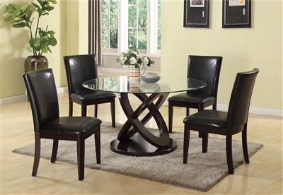 Gable 5 Piece Round Table Dining Room Set in Espresso Finish by Acme - 71985