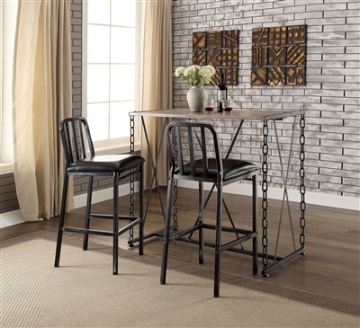 3 Piece Jodie Bar Table Set in Rustic Oak & Antique Black Finish by Acme - 71990
