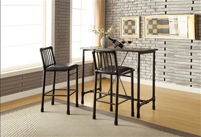3 Piece Caitlin Bar Table Set in Rustic Oak & Black Finish by Acme - 72030