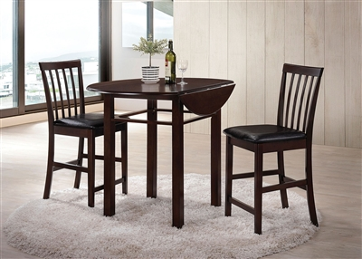 Artie 3 Piece Round Table Counter Height Dining Set in Espresso Finish by Acme - 72060