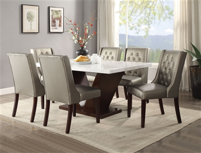 Forbes 7 Piece Dining Room Set in White Marble & Walnut Finish by Acme - 72120-70243
